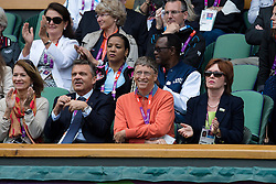 03.08.2012, Wimbledon, London, GBR, Olympia 2012, Tennis, im Bild Rene Fasel und Bill Gates verfolgen das Spiel von Roger Federer // during Tennis, at the 2012 Summer Olympics at Wimbledon, London, United Kingdom on 2012/08/03. EXPA Pictures © 2012, PhotoCredit: EXPA/ Freshfocus/ Valeriano Di Domenico..***** ATTENTION - for AUT, SLO, CRO, SRB, BIH only *****