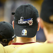 A Boston College hockey player is seen with a championship hat following The Beanpot Championship Game at TD Garden on February 10, 2014 in Boston, Massachusetts. (Photo by Elan Kawesch)