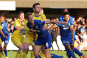 Paul Robinson defender for AFC Wimbledon (6) and Matty Pearson defender Accrington Stanley (2) during  the Sky Bet League 2 Play-Off first leg match between AFC Wimbledon and Accrington Stanley at the Cherry Red Records Stadium, Kingston, England on 14 May 2016. Photo by Stuart Butcher.