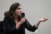 Katelyn Ferral delivers a questions during the Cap Times Idea Fest 2018 at the Pyle Center in Madison, Wisconsin, Saturday, Sept. 29, 2018.