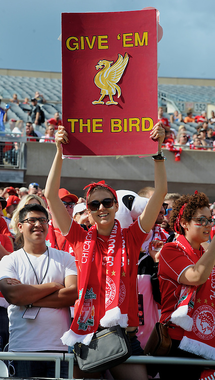 CHICAGO, USA - Sunday, July 27, 2014: A Liverpool supporter before the International Champions Cup Group B match against Liverpool at the Soldier Field Stadium on day seven of the club's USA Tour. (Pic by David Rawcliffe/Propaganda)