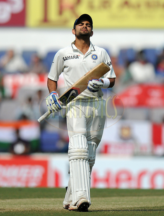 Virat Kohli of India reacts after scoring a half century during day three of the 4th Airtel Test Match between India and England held at VCA ground in Nagpur on the 15th December 2012..Photo by  Pal Pillai/BCCI/SPORTZPICS .