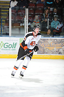 KELOWNA, CANADA, OCTOBER 11:  Spencer Jensen #7 of the Medicine Hat Tigers skates on the ice as the Medicine Hat Tigers visited the Kelowna Rockets on October 11, 2011 at Prospera Place in Kelowna, British Columbia, Canada (Photo by Marissa Baecker/shootthebreeze.ca) *** Local Caption ***Spencer Jensen;