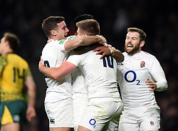 Owen Farrell of England celebrates his second half try with team-mates - Mandatory byline: Patrick Khachfe/JMP - 07966 386802 - 24/11/2018 - RUGBY UNION - Twickenham Stadium - London, England - England v Australia - Quilter International