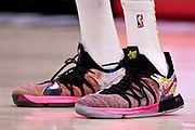 Jun 8, 2018; Cleveland, OH, USA; A view of the shoes of Golden State Warriors forward Kevin Durant (35) during the fourth quarter in game four of the 2018 NBA Finals at Quicken Loans Arena.