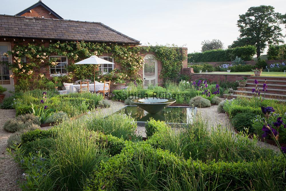 Kitchen Garden laid out with weaving Box Hedges, Allium sphaercephalon, Herbs and Irises. Manor Farm, Cheshire, U.K.