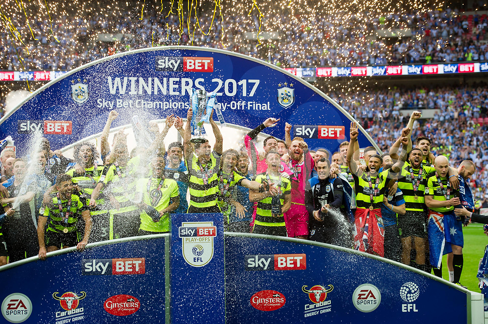 Huddersfield Town celebrate the promotion into the Premier League during the EFL Sky Bet Championship Play-Off Final match between Huddersfield Town and Reading at Wembley Stadium, London, England on 29 May 2017. Photo by Salvio Calabrese.