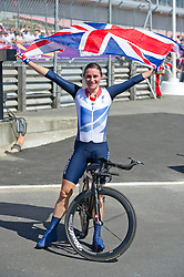 Sarah Story Paralympics Cyclist after winning her gold Medal at Brands Hatch, during the London 2012, Paralympics, Wednesday September 5, 2012. Photo By i-Images..This image can only be used for editorial use.