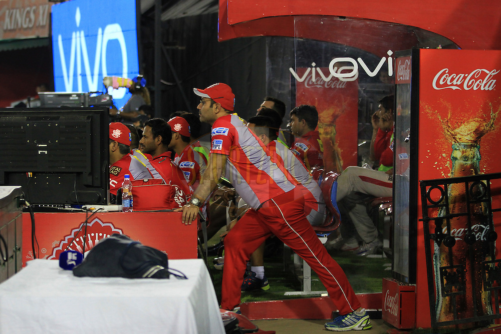 Virender Sehwag of Kings XI Punjab during match 39 of the Vivo Indian Premier League ( IPL ) 2016 between the Kings XI Punjab and the Royal Challengers Bangalore held at the IS Bindra Stadium, Mohali, India on the 9th May 2016<br /> <br /> Photo by Arjun Singh / IPL/ SPORTZPICS