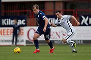 14th September 2019; Dens Park, Dundee, Scotland; Scottish Championship, Dundee Football Club versus Alloa Athletic; Paul McGowan of Dundee and Kevin Cawley of Alloa Athletic