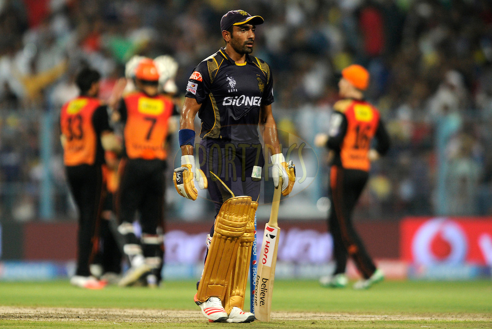 Robin Uthappa of Kolkata Knight Riders walks back after getting out during match 38 of the Pepsi IPL 2015 (Indian Premier League) between The Kolkata Knight Riders and The Sunrisers Hyderabad held at Eden Gardens Stadium in Kolkata, India on the 4th May 2015.<br /> <br /> Photo by:  Pal Pillai / SPORTZPICS / IPL