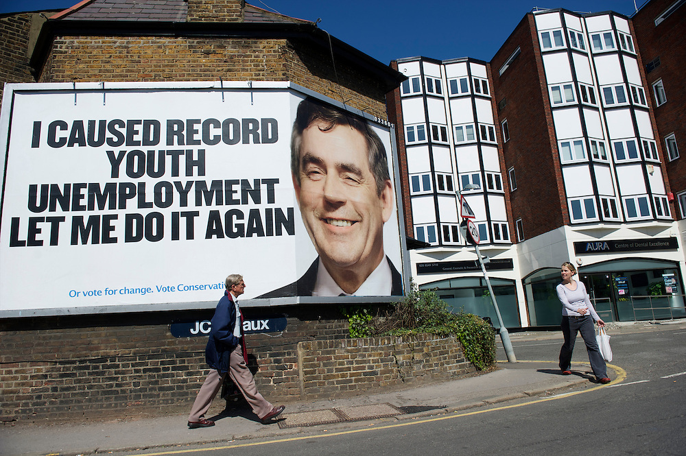 A dominating portrait of Prime Minister Gordon Brown features prominently on a Conservative Party billboard in south-west London on 17 April 2010.  With the general election looming on 6 May 2010, candidates are campaigning at a torrid pace, holding many events throughout the UK, while the advertising is becoming increasingly negative.