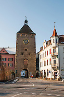 The centre of the town of Laufenburg, Switzerland showing the medieval gate tower.