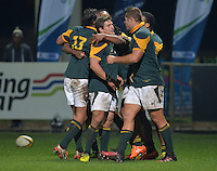 GEORGE, SOUTH AFRICA - JUNE 17: Piet van Zyl of South Africa and his team mates celebrate the try of Sergeal Petersen of South Africa during the match between South Africa 'A' and England Saxons at Outeniqua Park on June 17 2016 in George, South Africa. (Photo by Roger Sedres/Gallo Images)