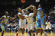"Ole Miss forward Sebastian Saiz (11) and Ole Miss guard Martavious Newby (1) vs. Southern at the C.M. ""Tad"" Smith Coliseum in Oxford, Miss. on Thursday, November 20, 2014. (AP Photo/Oxford Eagle, Bruce Newman)"