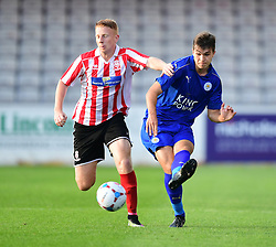 Lincoln City's Reece Robinson-Jones vies for possession with Leicester City's Kyle Gruno<br /> <br /> Lincoln City under 18s Vs Leicester City under 18s at Sincil Bank, Lincoln.<br /> <br /> Picture: Chris Vaughan/Chris Vaughan Photography<br /> <br /> Date: July 28, 2016