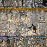 Detail of hieroglyphs at Chichen Itza archeological site, Mexico