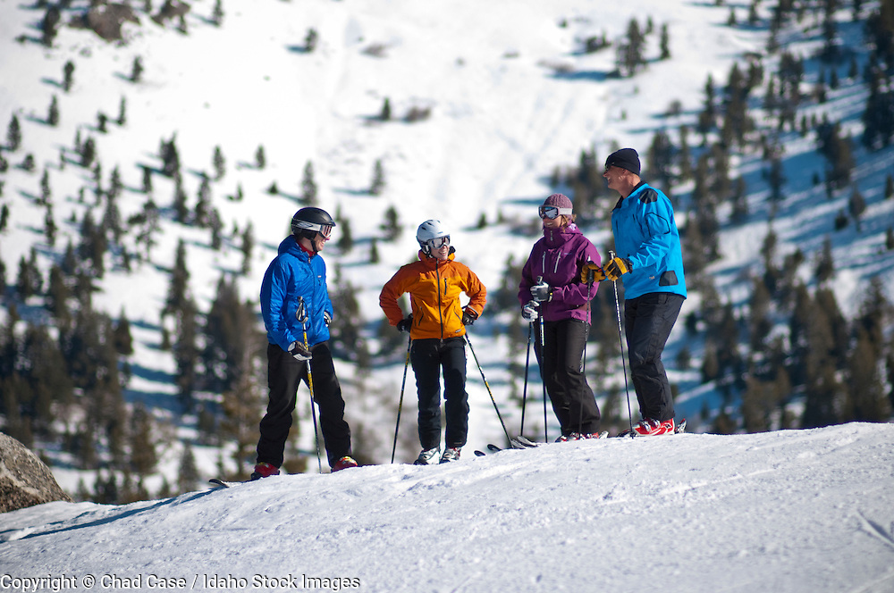 Skiers enjoying Bogus Basin Ski Resort near Boise, Idaho.