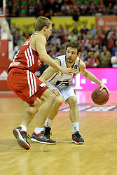 25.02.2014, Audi Dome, Muenchen, GER, Beko Basketball BL, FC Bayern Muenchen Basketball vs Artland Dragons, 22. Runde, im Bild Heiko Schaffartzik (FC Bayern Muenchen Basketball), Christian Hoffmannn (Artland Dragons), v li Aktion // during the Beko Basketball Bundes league 22. round match between FC Bayern Munich Basketball and Artland Dragons at the Audi Dome in Muenchen, Germany on 2014/02/25. EXPA Pictures © 2014, PhotoCredit: EXPA/ Eibner-Pressefoto/ Buthmann<br /> <br /> *****ATTENTION - OUT of GER*****