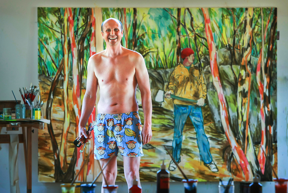 Mitch Macauley formerly Mitch Dowd the boxer short king, now tree change and painter, he changed his name to avoid the stigma of the boxer shorts preventing him being taken seriously as an artist  .Pic By Craig Sillitoe  18/06/2008 SPECIALX 000 This photograph can be used for non commercial uses with attribution. Credit: Craig Sillitoe Photography / http://www.csillitoe.com<br />
