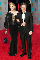 © Licensed to London News Pictures. 14/02/2016. London, UK. SUNRISE COIGNEY and MARK RUFFALO arrive on the red carpet at the EE British Academy Film Awards 2016 Photo credit: Ray Tang/LNP