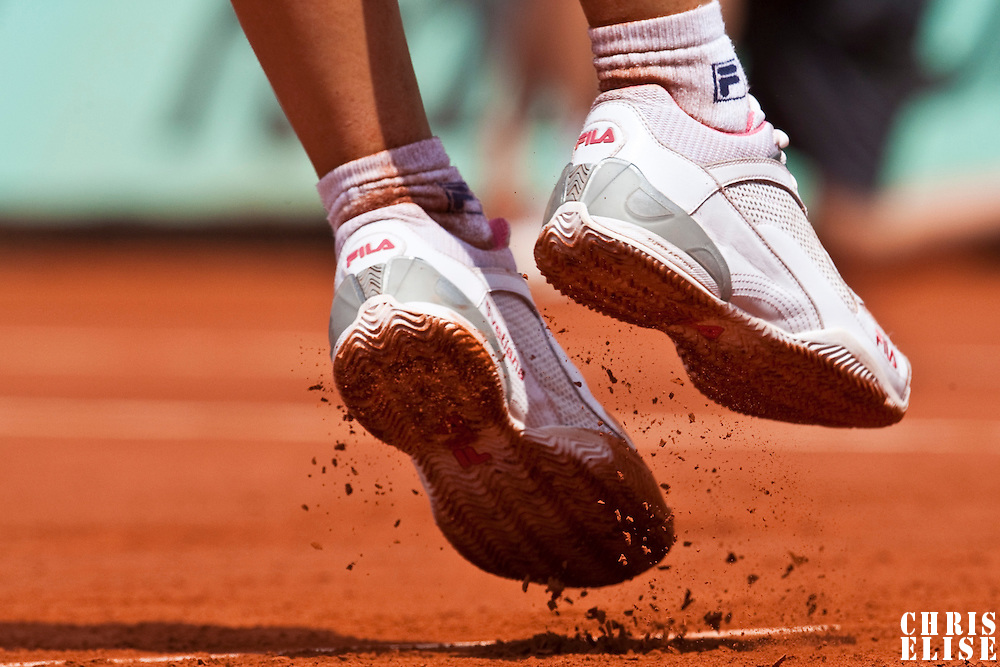 3 June 2009: Details of Svetlana Kuznetsova during the Women's single quarter final match on day eleven of the French Open at Roland Garros in Paris, France.