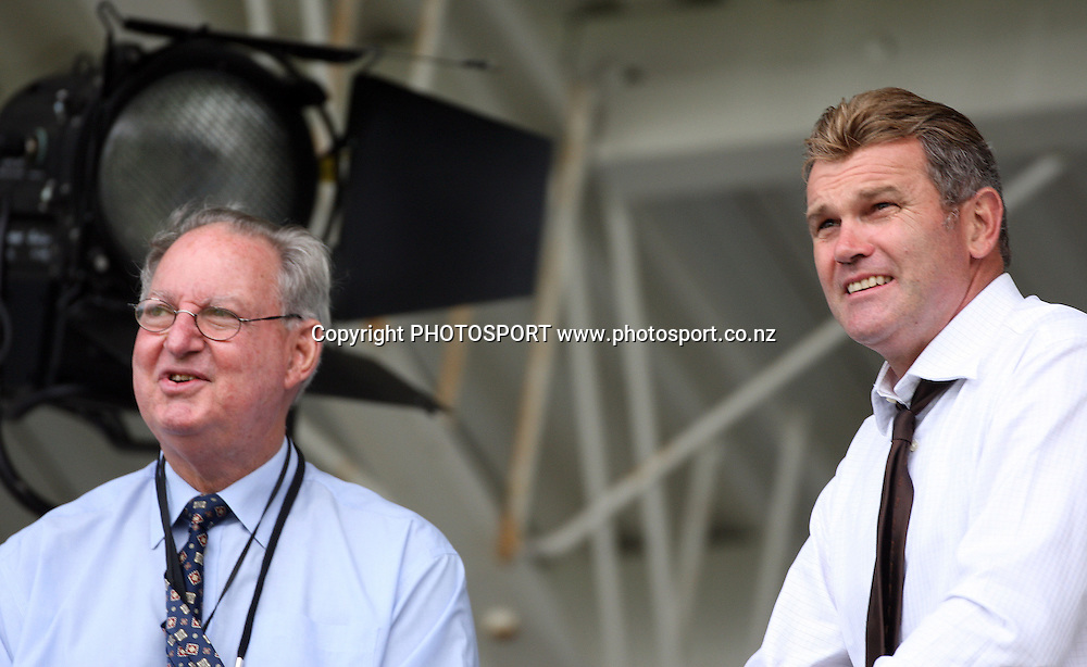 Tony Cozier and Martin Crowe watch the cricket during play on day 1 of the second cricket test at McLean Park in Napier. National Bank Test Series, New Zealand v West Indies, Friday 19 December 2008. Photo: Andrew Cornaga/PHOTOSPORT