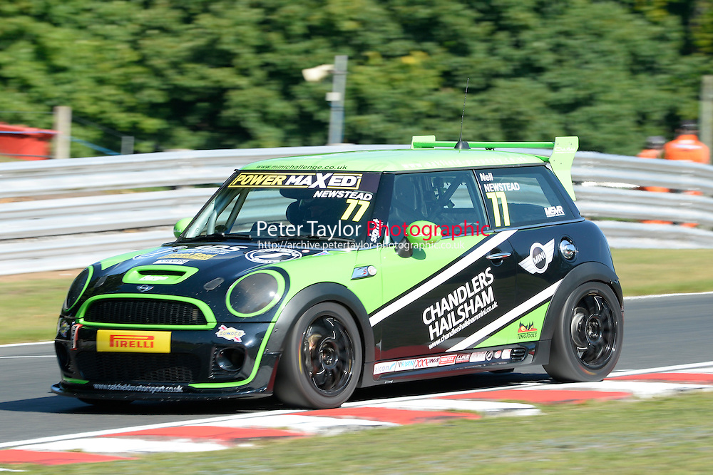 #77 Neil Newstead Mini JWC during Power Maxed Mini Challenge - F56/JCW - Qualifying  as part of the Mini Festival  at Oulton Park, Little Budworth, Cheshire, United Kingdom. August 08 2015. World Copyright Peter Taylor. Copy of publication required for printed pictures.  Every used picture is fee-liable. http://archive.petertaylor-photographic.co.uk