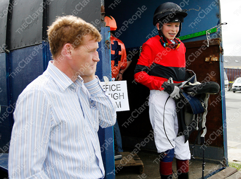 Trainer Tony Mullins with his son Danny at the strand racing in Kilkee on Sunday.<br />