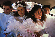 Cousins Gina and Tina Martinez, Quinceanera, Phoenix, Arizona