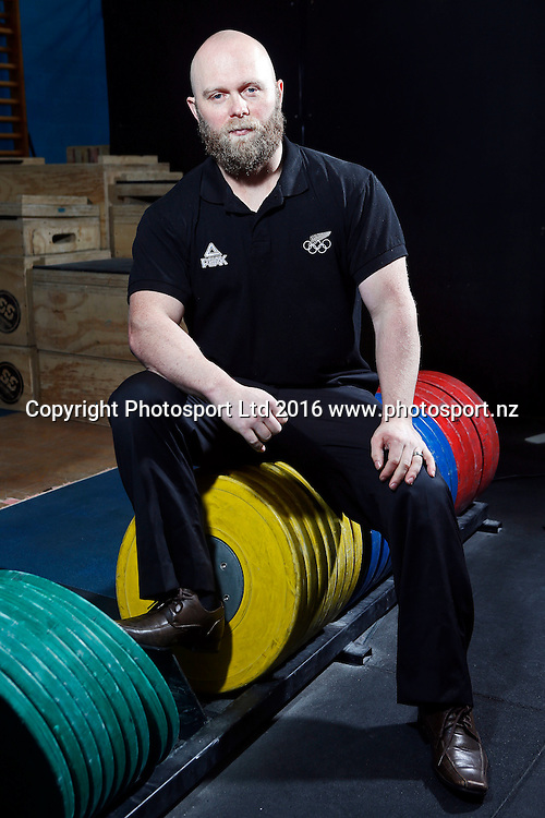 Richie Patterson, New Zealand Olympic Weightlifting Team announcement for Rio 2016. Functional Strength HQ, Auckland. 28 June 2016. Copyright Image: William Booth / www.photosport.nz