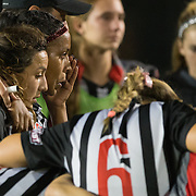 11/3/16-6:52:34 PM Players of the Cal State Northridge team console one another after their lost to Long Beach State during the Big West Tournament semifinals.