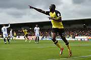Burton Albion midfielder Hope Akpan (21) celebrates scoring a goal, making the score 1-0,  during the EFL Sky Bet Championship match between Burton Albion and Bolton Wanderers at the Pirelli Stadium, Burton upon Trent, England on 28 April 2018. Picture by Richard Holmes.