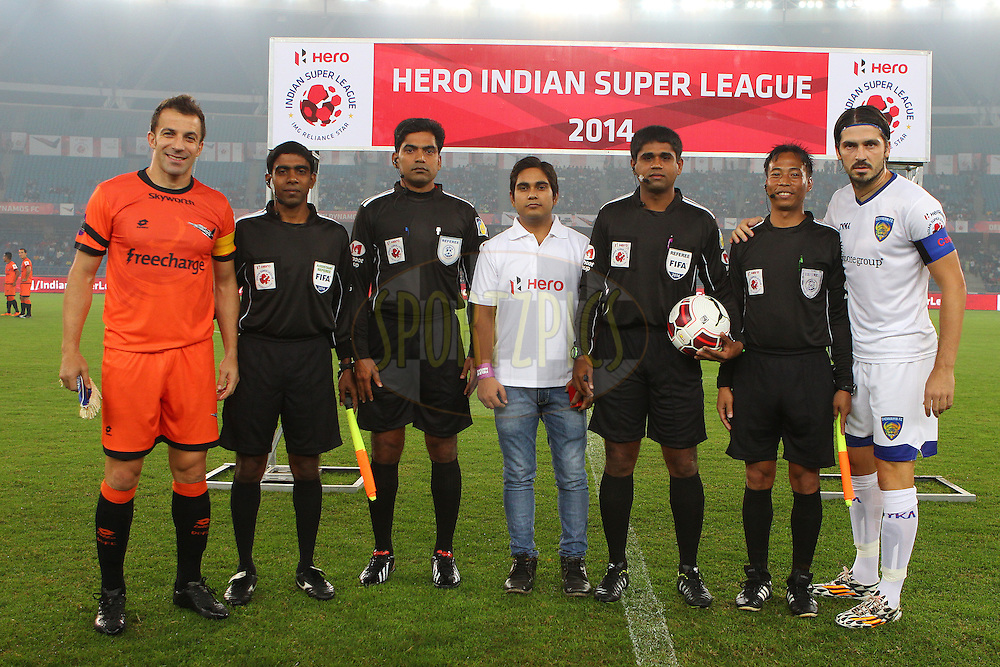 Alessandro Del Piero of Delhi Dynamos FC and Chennaiyin FC captain Bojan Djordjicpose with the match officials and the Hero fan during match 12 of the Hero Indian Super League between The Delhi Dynamos FC and Chennaiyin FC held at the Jawaharlal Nehru Stadium, Delhi, India on the 25th October 2014.<br /> <br /> Photo by:  Ron Gaunt/ ISL/ SPORTZPICS
