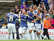 Cardiff - Saturday August 23rd, 2008: Ross McCormack of Cardiff City is congratulated by teammates after scoring the second goal during the Coca Cola Championship match at The Ninian Park, Cardiff. (Pic by Paul Hollands/Focus Images)