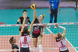 December 12, 2017 - Busto Arsizio, Varese, Italy - Beatrice Berti (#15 Yamamay e-work Busto Arsizio) during the Women's CEV Cup match between Yamamay e-work Busto Arsizio and ZOK Bimal-Jedinstvo Brcko at PalaYamamay in Busto Arsizio, Italy, on 12 December 2017. Italian Yamamay e-work Busto Arsizio team defeats 3-0 Bosnian ZOK Bimal-Jedinstvo Brcko. (Credit Image: © Roberto Finizio/NurPhoto via ZUMA Press)