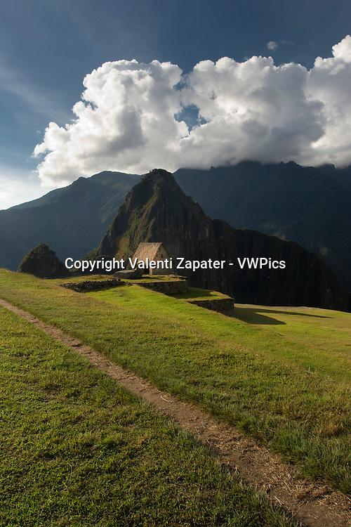 Trail, house of the guardian and Wayna Picchu. Machu Picchu, Cusco, Peru