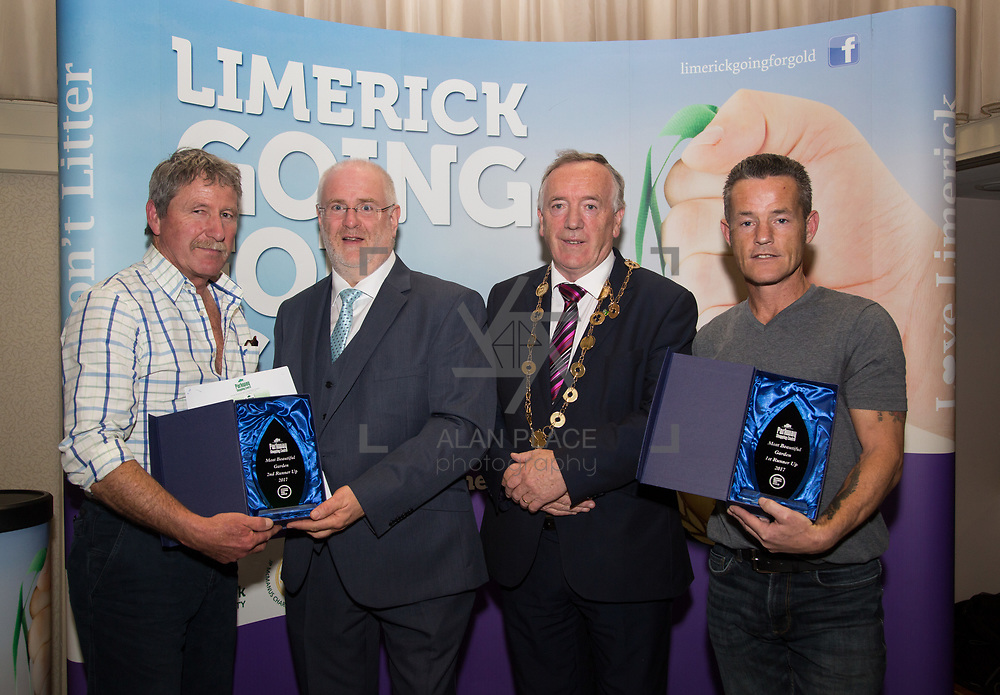 10.10. 2017. <br /> Roger Beck, Parkway Shopping Centre and Mayor of the City and County of Limerick Cllr Stephen Keary presented The Garden Category of The Going For Gold Final to runners up Frank Costelloe, Askeaton 2nd place (left) and Robert O'Byrne, Kennedy Park (3rd place) (right).                      <br /> <br /> Limerick Going for Gold, which is sponsored by the JP McManus Charitable Foundation, has a total prize pool of over €75,000.  It is organised by Limerick City and County Council and supported by Limerick's Live 95FM, The Limerick Leader and The Limerick Chronicle, The Limerick Post, Parkway Shopping Centre, I Love Limerick and Southern Marketing Media & Design. Picture: Alan Place