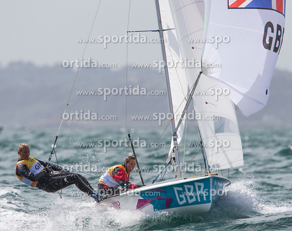 04.08.2012, Bucht von Weymouth, GBR, Olympia 2012, Segeln, im Bild Bithell Stuart, Patience Luke, (GBR, 470 Men) // during Sailing, at the 2012 Summer Olympics at Bay of Weymouth, United Kingdom on 2012/08/04. EXPA Pictures © 2012, PhotoCredit: EXPA/ Daniel Forster ***** ATTENTION for AUT, CRO, GER, FIN, NOR, NED, POL, SLO and SWE ONLY!