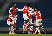 GLEN KAMARA scores a goal and celebrates during the Barclays U21 Premier League match between Brighton U21 and Arsenal U21 at the American Express Community Stadium, Brighton and Hove, England on 1 December 2014.