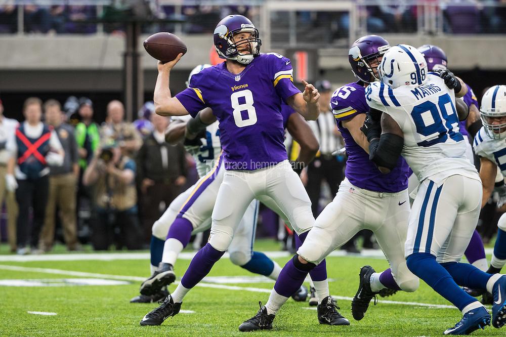Dec 18, 2016; Minneapolis, MN, USA; Minnesota Vikings quarterback Sam Bradford (8) against the Indianapolis Colts at U.S. Bank Stadium. The Colts defeated the Vikings 34-6. Mandatory Credit: Brace Hemmelgarn-USA TODAY Sports