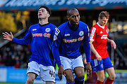 Calvin Andrew goes close during the The FA Cup match between Aldershot Town and Rochdale at the EBB Stadium, Aldershot, England on 7 December 2014.