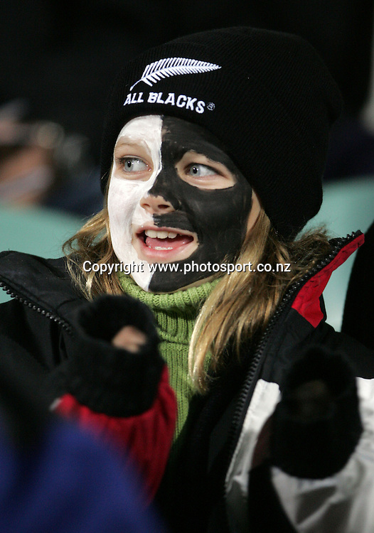 All Black fans during the All Blacks v Fiji test match played at Albany Stadium in Auckland on Friday 10 June, 2005. The All Black won 91-0. Photo: Michael Bradley/PHOTOSPORT