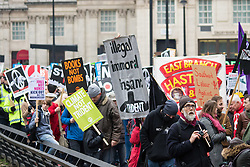 London, February 27th 2016. Protesters march along Park Lane during CND's march and rally opposing the UK's Trident nuclear weapons programme. <br /> &copy;Paul Davey<br /> FOR LICENCING CONTACT: Paul Davey +44 (0) 7966 016 296 paul@pauldaveycreative.co.uk
