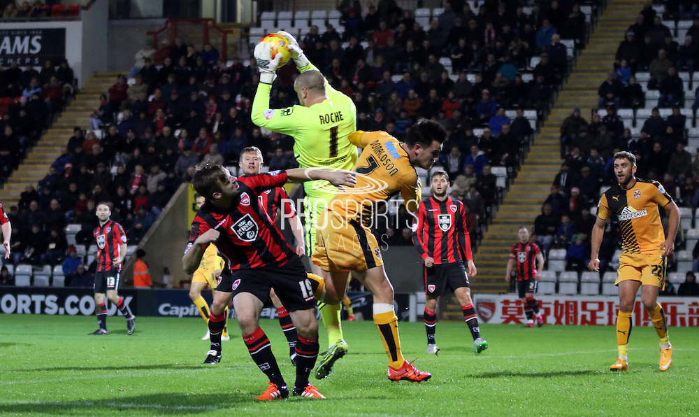 Barry Roach beats Ryan Donaldson to the ball during the Sky Bet League 2 match between Morecambe and Cambridge United at the Globe Arena, Morecambe, England on 24 November 2015. Photo by Pete Burns.