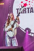 Jade Bird performs in front of 10000 fans from Girl Guiding UK during the Girl Guiding Scotland Tartan Gig at SSE Hydro, Glasgow, Scotland on 31 August 2019. Picture by Colin Poultney.