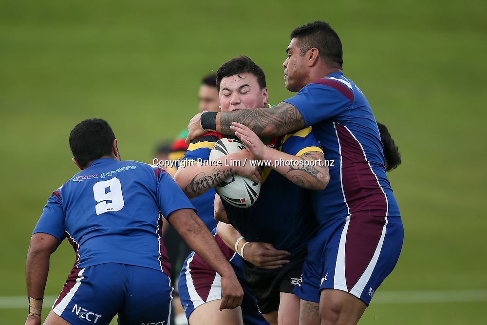 Wai-Coa-Bay Stallions prop Tupara Pupara in action during the NZRL Premiership rugby league match - Wai-Coa-Bay Stallions v Akarana Falcons at Resthills Park, Hamilton on Saturday 19 September 2015. <br /> <br /> Copyright Photo:  Bruce Lim / www.photosport.nz