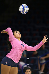 October 7, 2018 - Tucson, AZ, U.S. - TUCSON, AZ - OCTOBER 07: Arizona Wildcats libero / defensive specialist Malina Kalei Ua (15) serves the ball during a college volleyball game between the Arizona Wildcats and the Washington State Cougars on October 07, 2018, at McKale Center in Tucson, AZ. Washington State defeated Arizona 3-2. (Photo by Jacob Snow/Icon Sportswire) (Credit Image: © Jacob Snow/Icon SMI via ZUMA Press)