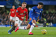 Chelsea defender Reece James and Manchester United defender Luke Shaw compete for the ball during the Premier League match between Chelsea and Manchester United at Stamford Bridge, London, England on 17 February 2020.