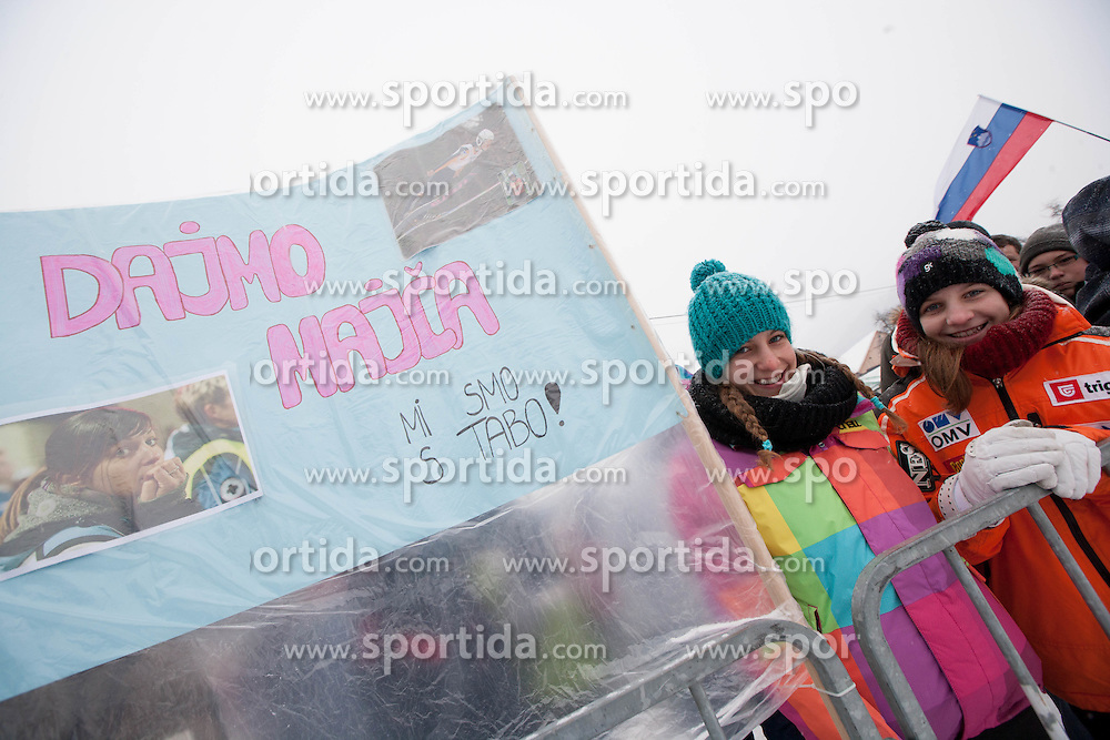 Fans of Maja Vtic of Slovenia during Normal Hill Individual Competition at FIS World Cup Ski jumping Ladies Ljubno 2012, on February 12, 2012 in Ljubno ob Savinji, Slovenia. (Photo By Vid Ponikvar / Sportida.com)
